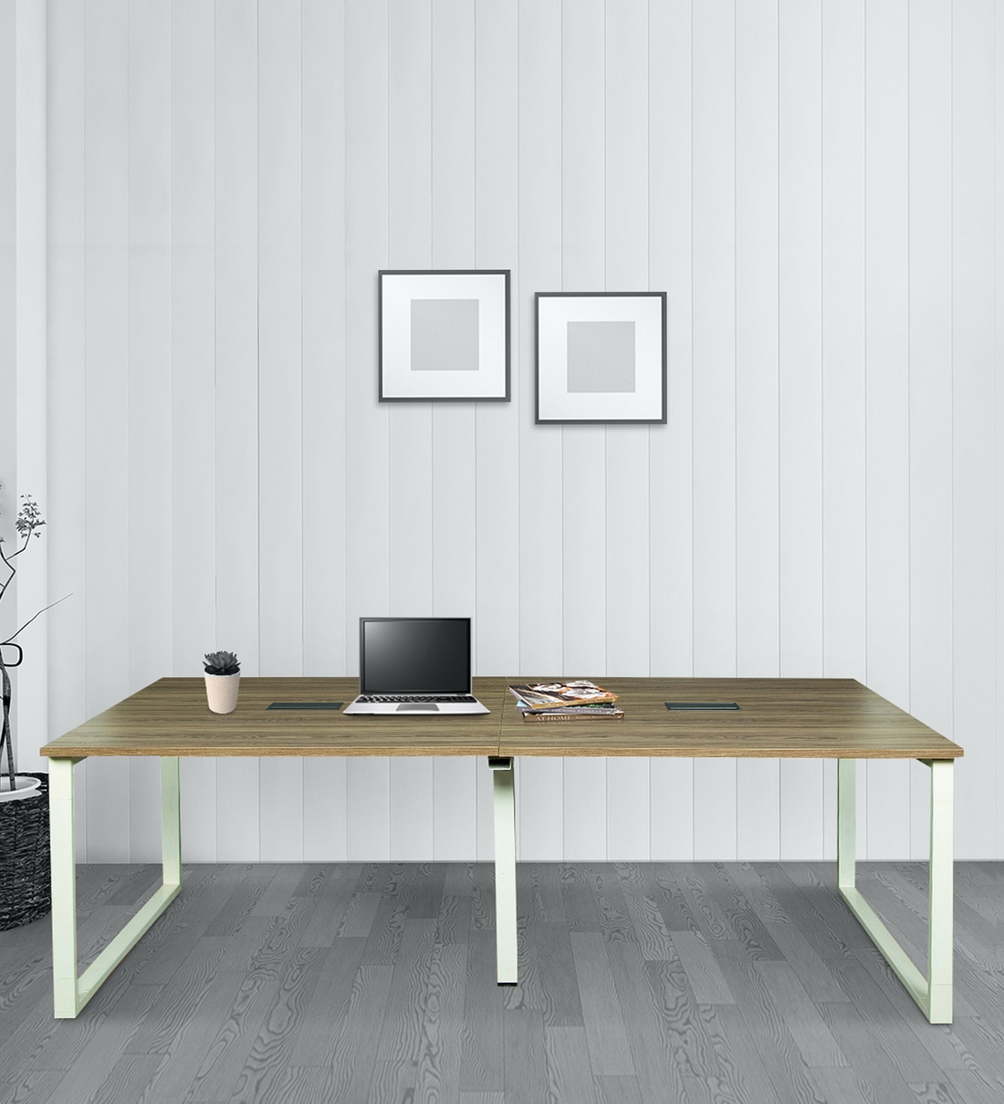 Buy Mig Conference Table In White Green Frame America Oak Finish By Parin Online Work Stations Tables Furniture Pepperfry Product