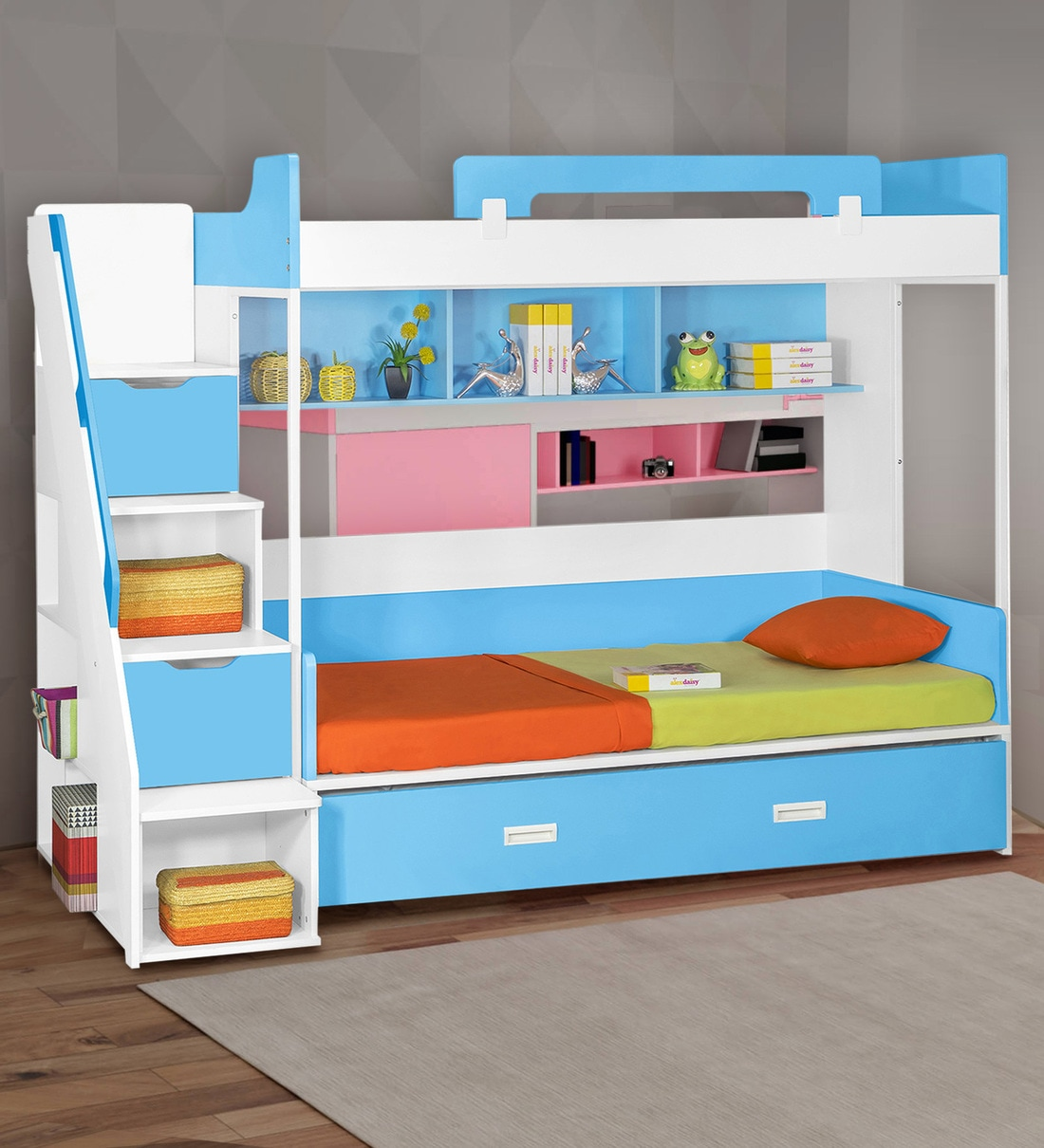 Buy Milano Bunk Bed In Blue By Alex Daisy Online Trundle Bunk Beds Bunk Beds Kids Furniture Pepperfry Product