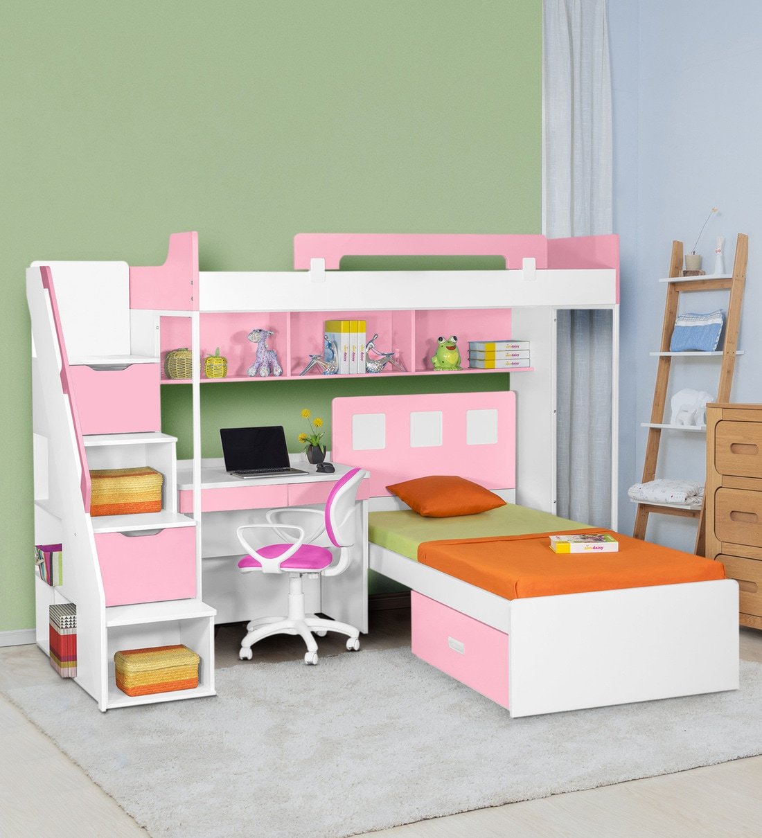 Picture of: Buy Milano Bunk Bed With Study Table In Pink By Alex Daisy Online Bed Units Kids Furniture Kids Furniture Pepperfry Product