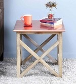 Mick Solid Wood End Table in Copper Finish