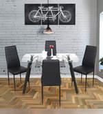 Milan Four Seater Dining Set in Black Finish