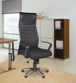 Milan High Back Ribs Office Chair in Black Colour