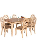 Miraya Six Seater Dining Set in Brown Glaze Colour