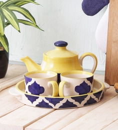 Miah Decor Tea Set Ceramic Handcrafted Cups & Kettle Gift Set, 2 Cups, 1 Kettle, 1 Tray