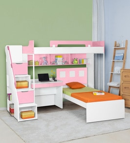 Buy Milano Bunk Bed With Study Table In Pink By Alex Daisy Online Bed Units Kids Furniture Kids Furniture Pepperfry Product