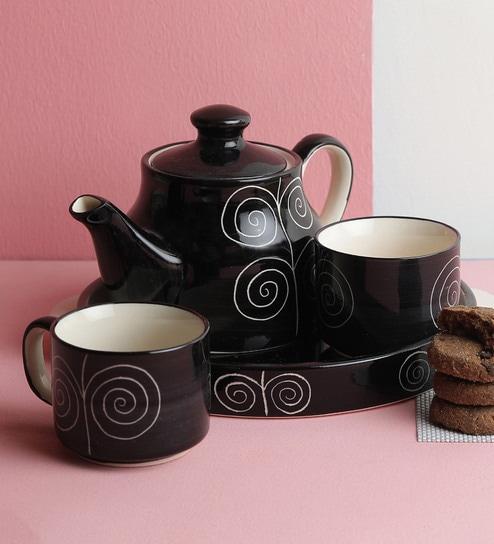 Buy Black And White Ceramic 150 Ml Kettle Set Of 4 Online Teapots