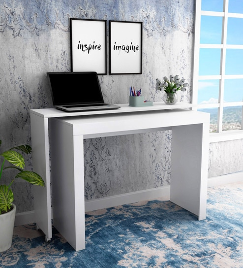 Midori Study Table In White Finish By Mintwud