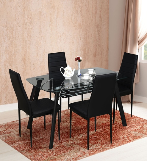 d49a08a1d3 Buy Milan Four Seater Dining Set in Black Finish by RoyalOak Online ...