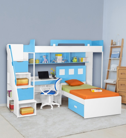new style 2ec0d d13f0 Milano Bunk Bed with Study Table in Blue by Alex Daisy