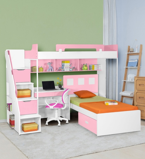 size 40 4d80e d373b Milano Bunk Bed with Study Table in Pink by Alex Daisy