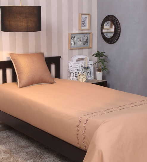 Embroidered 100% Cotton 200 Thread Count Single Bedsheet   Gold By Milano  Home