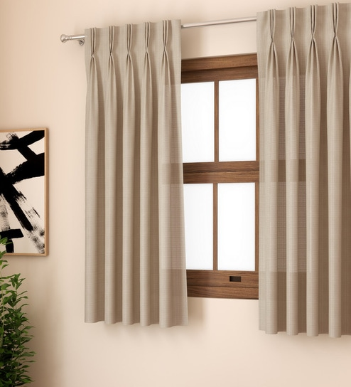 Milano Plain Textured 5 Feet Window Glossy American Pleat Curtain Set Of 2 By Curtain Label
