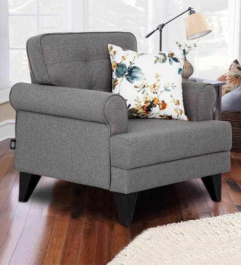 Miller Single Seater Fabric Sofa In Grey Colour By Hometown