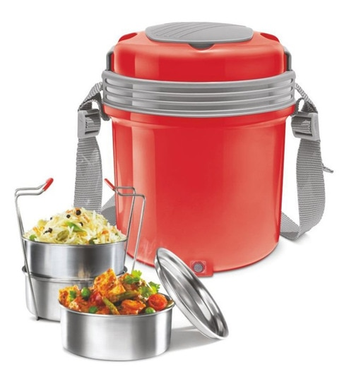 c7ca31bf955 Buy Milton Electron 3 Electric Stainless Steel Red Lunch Pack with 4  Container