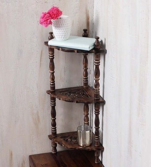Solid Wood Hand Made Carved Corner Shelf In Brown Finish By Online