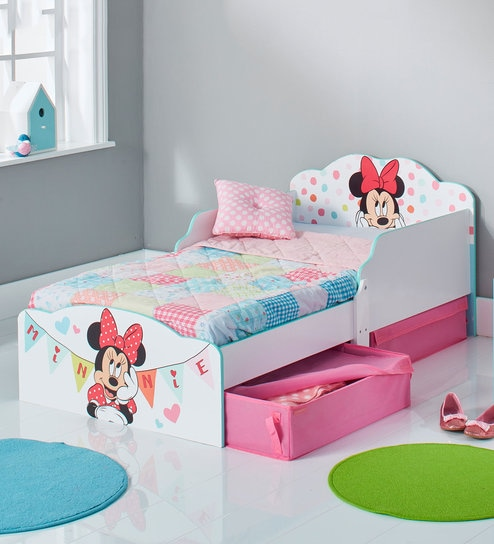 Buy Minnie Mouse Kids Toddler Bed With Storage Drawers By Cot
