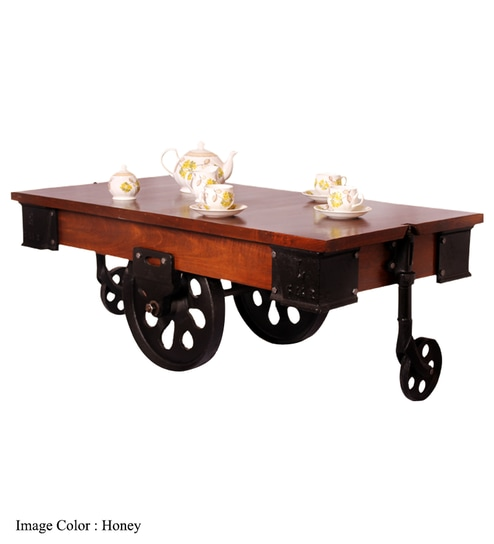 Mint Iron Cart Coffee TableDark Red Mahogany By Mudramark Online - Dark red coffee table