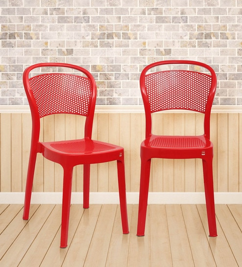 Miracle Outdoor Chair Set Of 2 In Red Colour By Cello Online Plastic Chairs Furniture Pepperfry Product