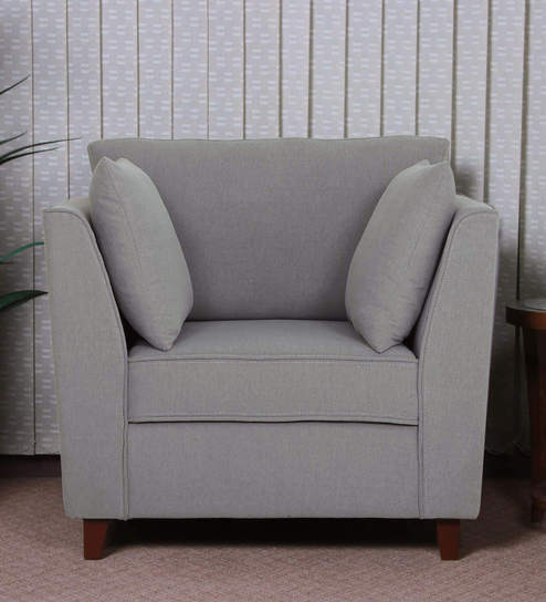 Miranda One Seater Sofa in Ash Grey Colour by CasaCraft