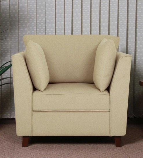Miranda One Seater Sofa in Beige Colour by CasaCraft