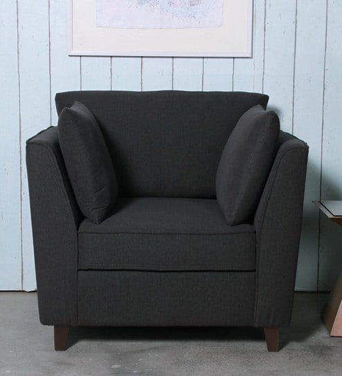 Miranda One Seater Sofa in Charcoal Grey Colour by CasaCraft