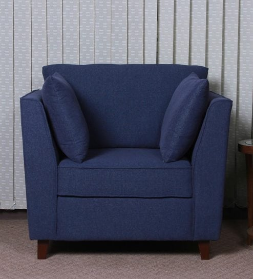 Miranda One Seater Sofa in Navy Blue Colour by CasaCraft