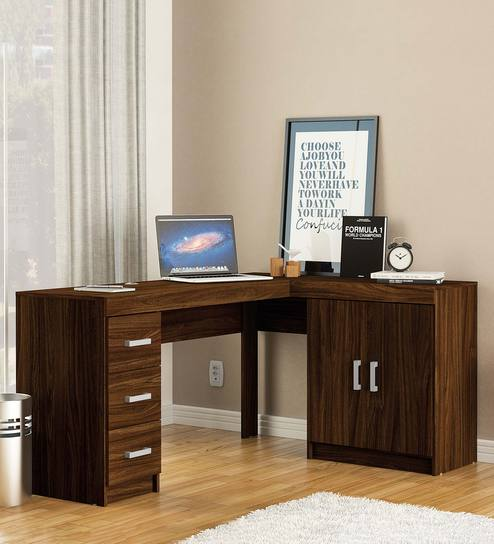 Misaki Study Table With Drawers Cabinet In Walnut Brown Finish By Mintwud
