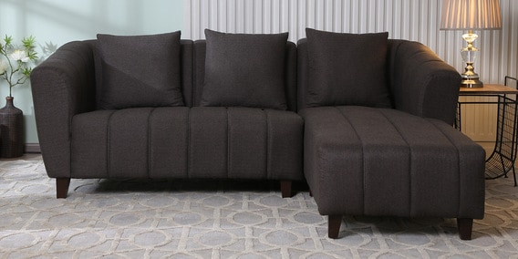 buy online b9450 d10a8 Mia 2 Seater LHS Sectional Sofa in Brown Colour by CasaCraft