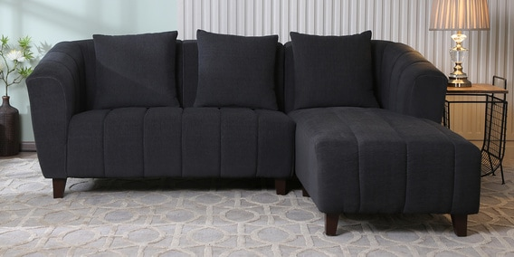 purchase cheap 24342 61a2f Mia LHS Two Seater Sofa with Lounger in Charcoal Grey Colour by CasaCraft