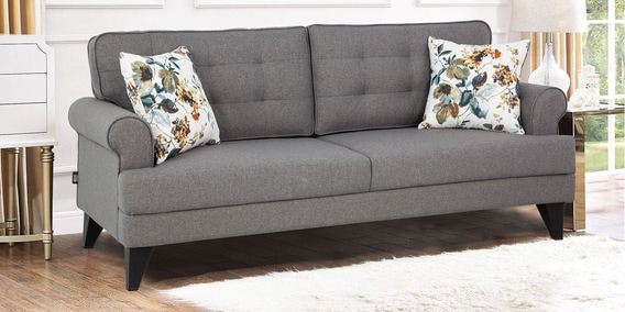 Buy Miller Three Seater Fabric Sofa In Grey Colour By Hometown