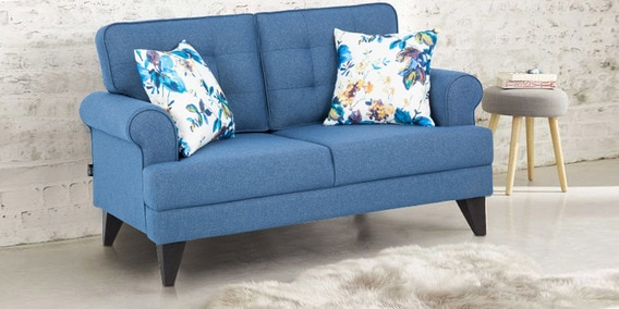 Excellent Miller Two Seater Fabric Sofa In Blue Colour By Hometown Dailytribune Chair Design For Home Dailytribuneorg