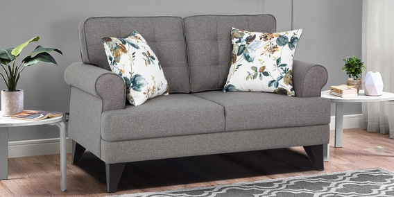 Two Seater Fabric Sofa In Grey Colour