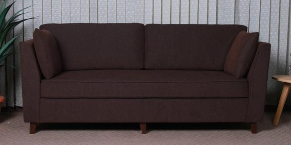 Miranda Three Seater Sofa in Chestnut Brown Colour by CasaCraft