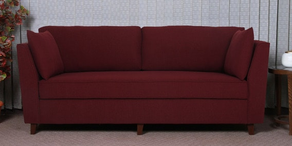 Miranda Three Seater Sofa in Garnet Red Colour by CasaCraft