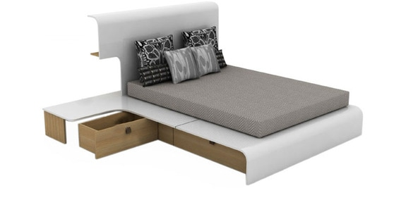 Mist Queen Bedroom Set Bed Side Table Mobile Unit By Godrej Interio By Godrej Interio