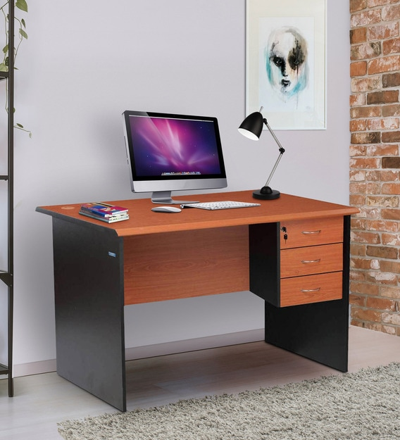 HomeFurnitureTablesOffice TablesWork StationsMilford Three Drawer Office Table by NilkamalMilford Three Drawer Office Table by Nilkamal