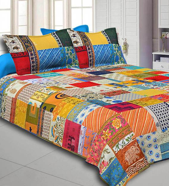 Buy Cotton 300tc Double Bedsheet With 2 Pillow Covers Online Abstract Double Bed Sheets Bed Sheets Furnishings Pepperfry Product