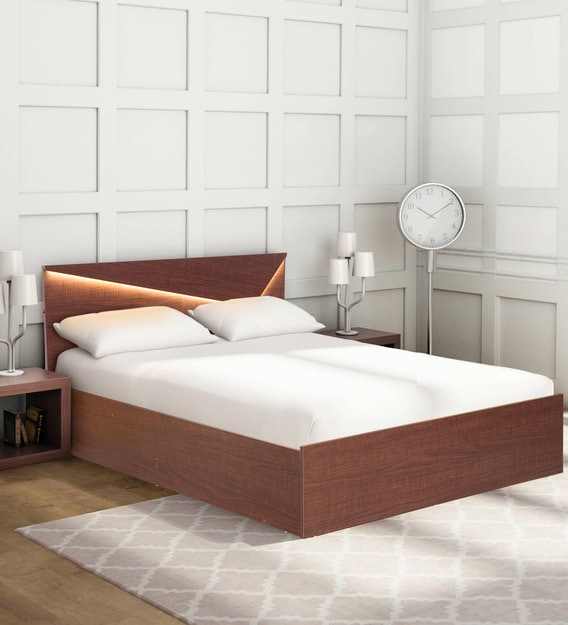 Buy Miyo King Size Bed With Storage Led Light Mintwud By Pepperfry Online Modern King Size Beds Beds Furniture Pepperfry Product