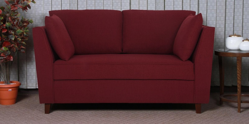 Miranda Two Seater Sofa in Garnet Red Colour by CasaCraft