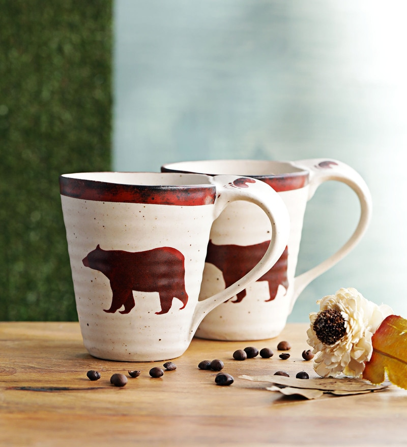 Miah Decor Dopio Animal Cream & Brown Stoneware 350 ML Mugs - Set of 2