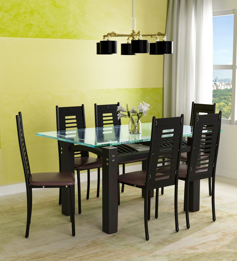 Buy Milan Six Seater Dining Set With Glass Top Wooden Base By