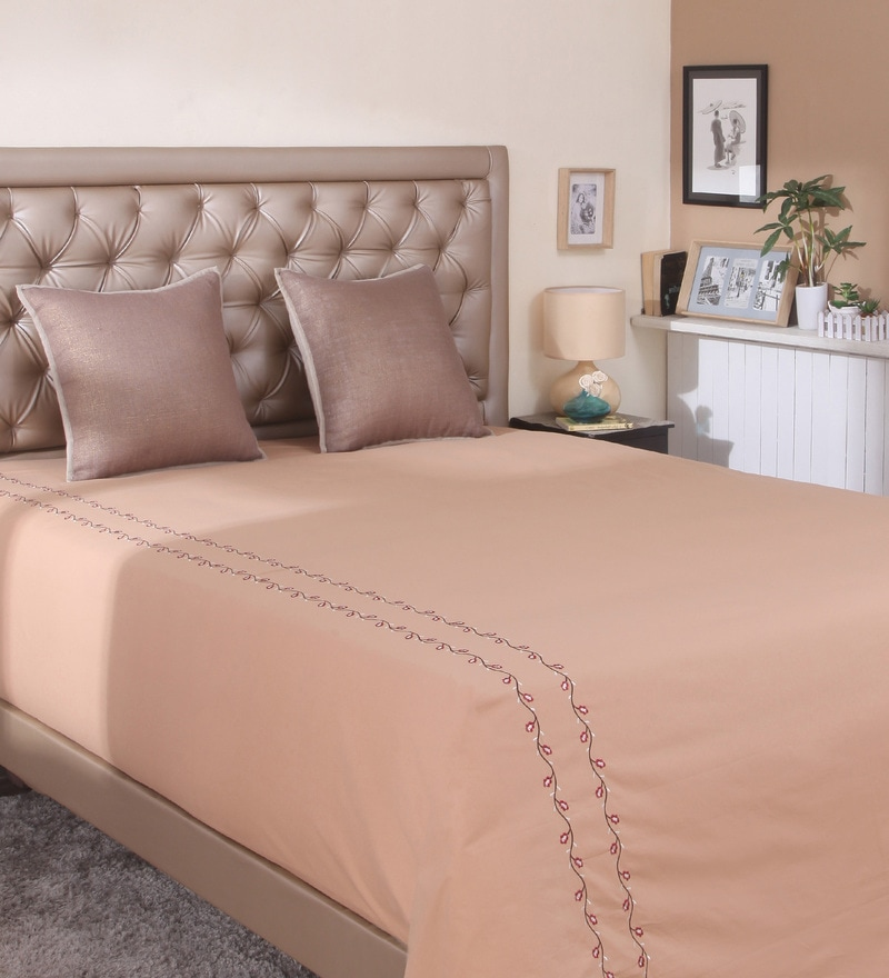 Brown Cotton Queen Size Bed Sheet by Milano Home