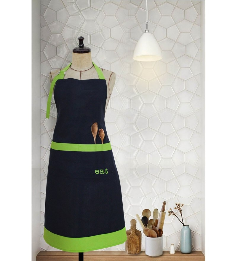 Milano Home Green 100% Cotton Eat Apron with Adjustable Neck & Pocket