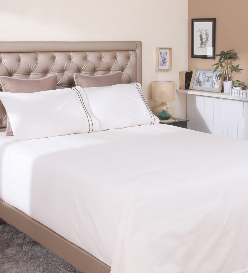Ivory Cotton Queen Size Bedsheet by Milano Home