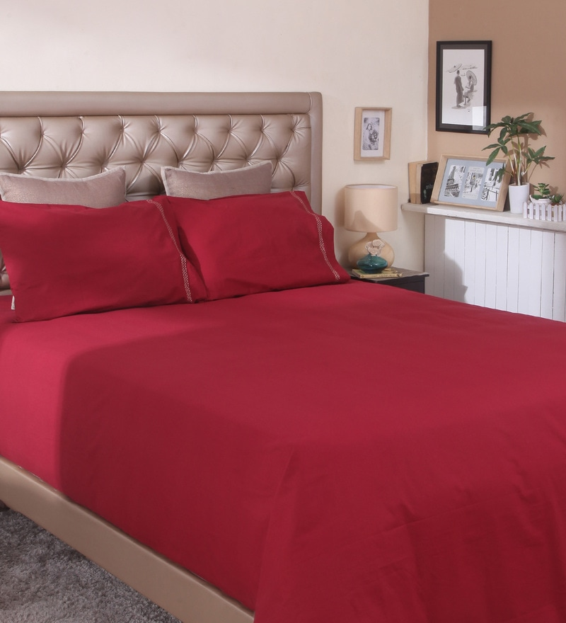Maroon Cotton Queen Size Bedsheet by Milano Home