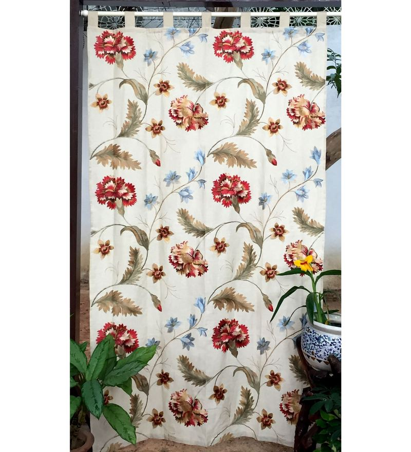 Milano Home Multicolour Linen 90 x 51.5 Inch Embroidered Tab Top Curtain