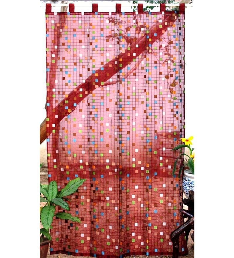 Milano Home Multicolour Silk 90 x 50 Inch Sheer Curtain