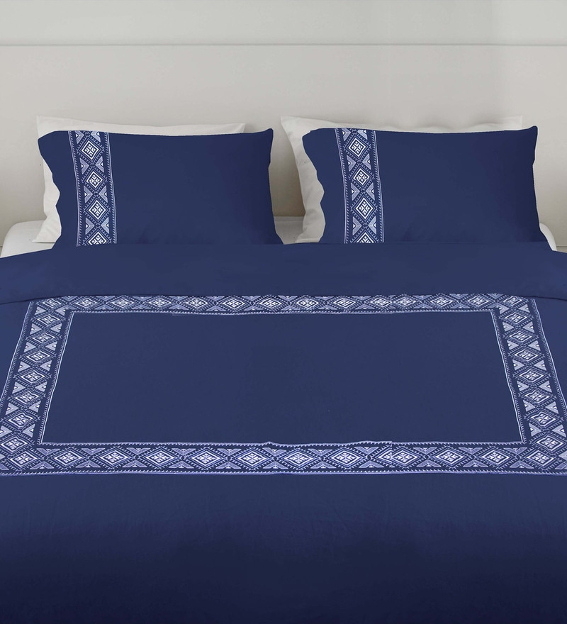 Navy 100% Cotton King Embroidered Button Duvet Cover by Milano Home