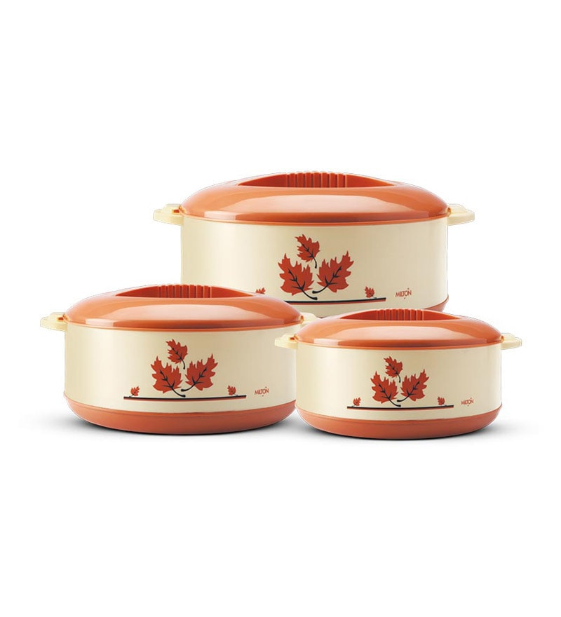 Milton Orchid Light Brown Plastic Casserole - Set of 3