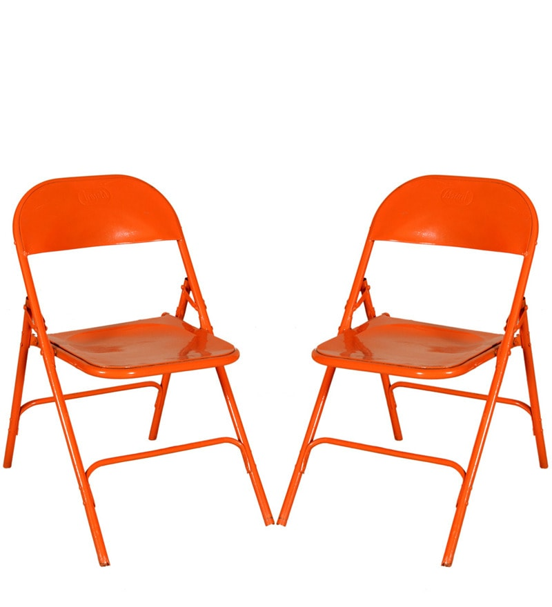 Mint Orange Iron Folding Chair Set Of 2 Chairs By